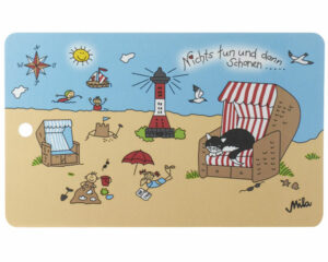 """Mila Frühstücksbrett Strandidylle """"Nichts tun und dann schonen"""" - Resopal Frühstücksbrettchen mit Loch zum Aufhängen - Strandmotiv mit Katze """"Happy Cat"""""""