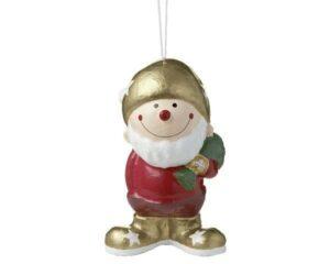 Fröhliche Weihnacht Pappmaché Figur Herr Fröhlich - MILA Gartenzwerg Winterwichtel