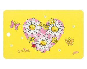 Mila Smile Blumen in Herzform Resopal Frühstücksbrettchen mit Loch zum Aufhängen
