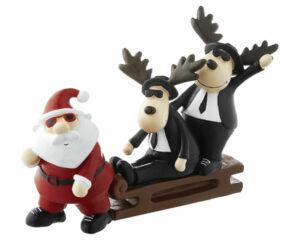 Mila Dekofigur - Super Cool - Blues Brothers Elche auf Schlitten mit Weihnachtsmann