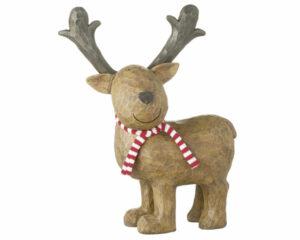 Mila XL Elch Woody - 30 cm stehender, lächelnder Elch mit Schal - Dekofigur aus Resin