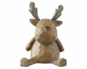 Mila Dekofigur - XXS Elch Woody - sitzender und lächelnder Elch