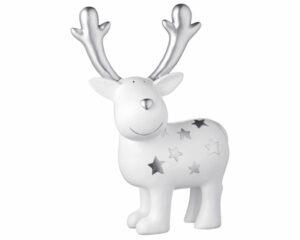Mila Dekofigur Elch XL Gustav mit Sternen - stehender weißer Elch mit silbernen Sternen