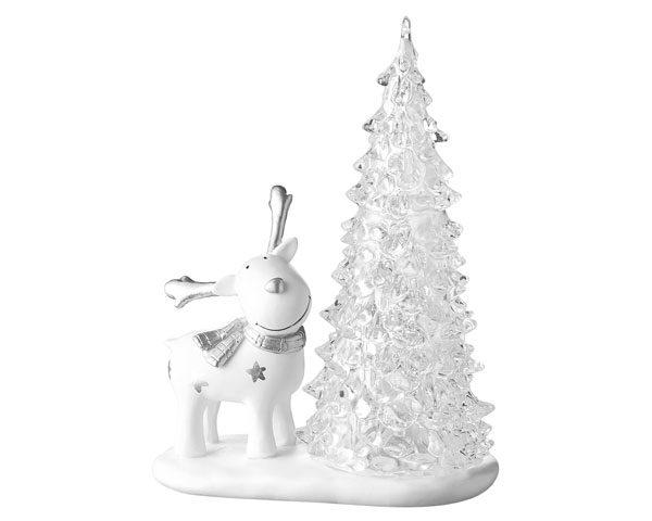 Mila Dekofigur Elch mit Licht - Gustav mit Sternen und Lichterbaum - stehender weißer Elch mit LED Tannenbaum - 18cm