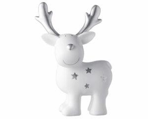 Mila Elch Dekofigur - Gustav mit Sternen - stehender weißer Elch mit silbernen Sternen