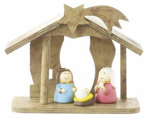Mila Krippenset, 4 teilig - Krippe, Maria, Josef, Jesus - Weihnachtskrippe
