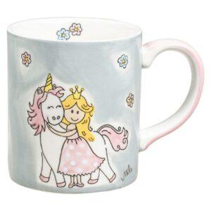 Becher Prinzessin mit Einhorn - 280 ml - Keramik - in zartrosa und hellgrau Pastell 80233