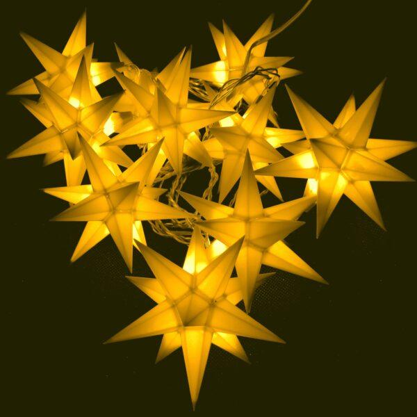 10 er Set LED Stern gelb 3D