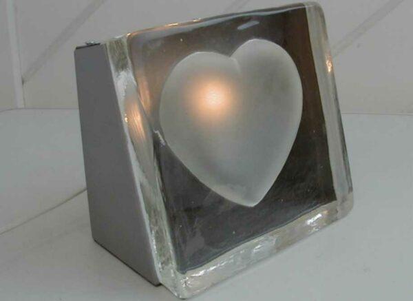 Tischleuchte Glas Herz - Tischlampe Stone heart - Lampe Stein Herz - Nachtischlampe - Bodenleuchte - Dekoleuchte - Liebeslicht
