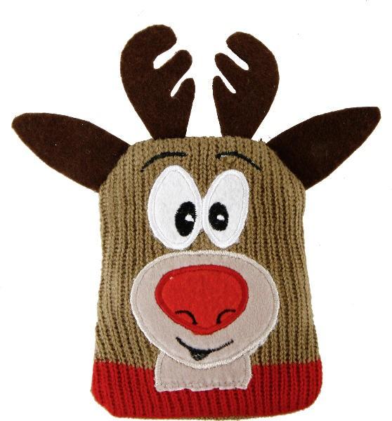 Elch Strickhülle - Geschenkbeutel Rentier Didi aus Polyester-Strick - weihnachtliche Schmuckverpackung