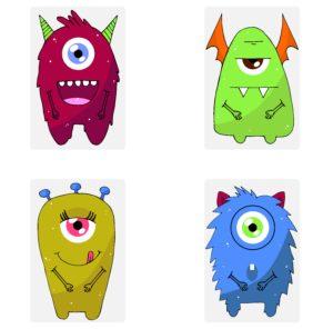Taschenwärmer Monster - lustige Einäugige Monster Taschenheizkissen Fingerwärmer - einzeln oder 4 verschiedene Design im Geschenkset