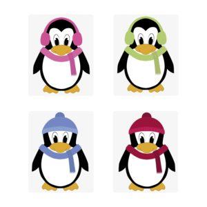Taschenwärmer Pinguin - lustige Pinguine mit buntem Schal und Ohrenwärmern - Taschenheizkissen Fingerwärmer - einzeln oder 4 verschiedene Design im Geschenkset