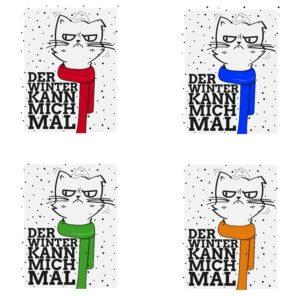 Taschenwärmer Katze - Katzen mit Schal Handwärmer - Der Winter kann mich mal Taschenheizkissen Kater - einzeln oder 4 verschiedene Design im Geschenkset