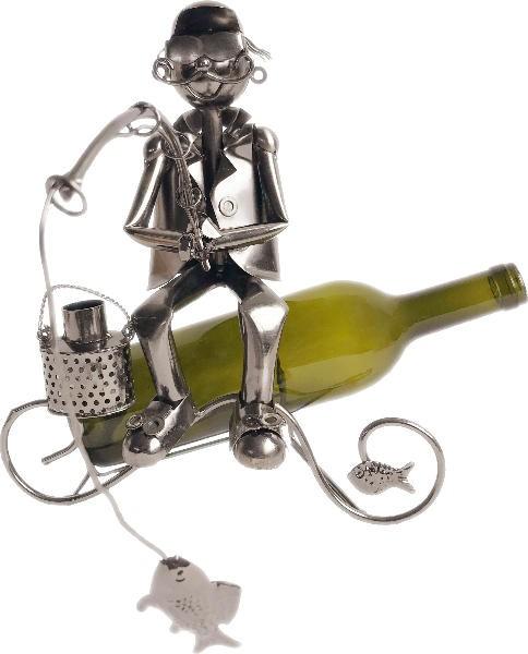 Flaschenhalter Skulptur cooler Angler mit Fisch - Weinflaschenhalter Fischer aus Metall