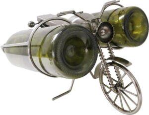 Flaschenhalter Skulptur Fahrrad mit Doppelhalterung - Weinflaschenhalter für zwei Flaschen