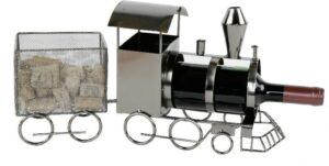 Lokomotive Flaschenhalter Eisenbahn mit Wagon - Metall Weinflaschenhalter Zug mit Anhänger