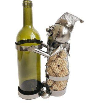 Flaschenhalter Weihnachtsmann Skulptur Eisen - Flaschenwichtel