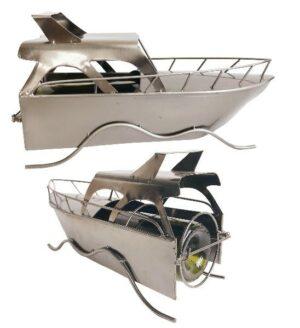 Flaschenhalter Motorboot Skulptur Speedboot - Yacht aus Eisen