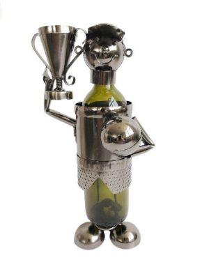 Sektflaschenständer mit Pokal - Die Siegestrophäe lässt sich ideal mit dem richtigen Inhalt zum Anstossen füllen!