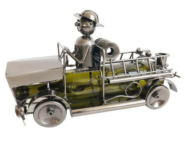 Feuerwehrauto Flaschenhalter Skulptur Feuerwehrmann - Metall Weinflaschenhalter Löschwagen, Feuerwehrwagen