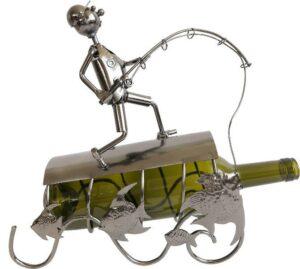 Flaschenhalter Skulptur Angler mit Fisch - Weinflaschenhalter Fischer aus Metall