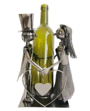 Flaschenhalter Hochzeitspaar Skulptur Metall Flaschenständer