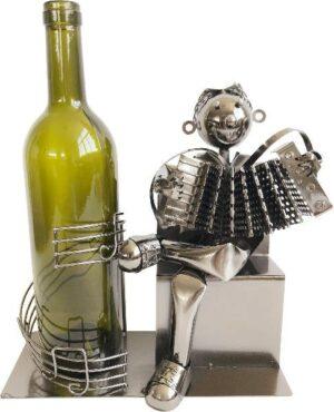 Skulptur Akkordeonspieler Flaschenhalter Harmonika Musikant aus Metall