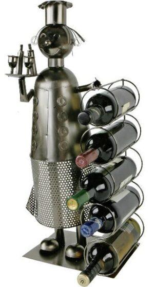 Weinregal Koch Skulptur - Metall Chefkoch Weinflaschenständer 72 cm für 6 Flaschen