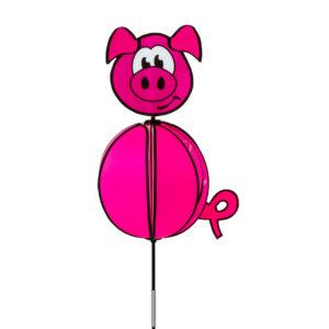 Spinning Ball Piggy - Kugelwindspiel Schwein - HQ Windspiel Gartenstecke Standwindspiel