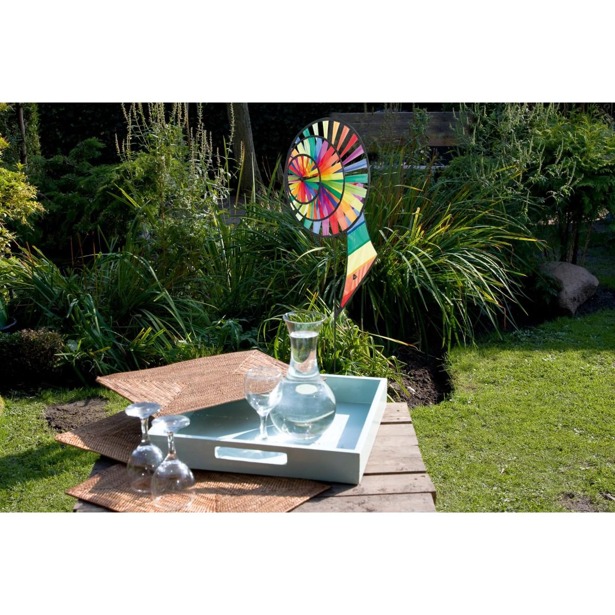 Magic wheel triple banner rainbow hq windspiel garten dekoration - Windsegel garten ...