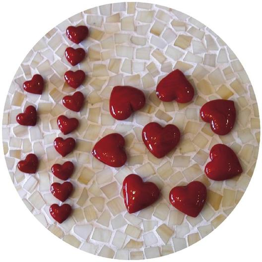 Glas Herz rot - Dekoherzen - Rote Glasherzen - Streudeko Glasherz