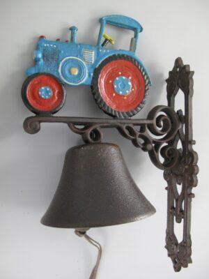 Wandglocke Trecker - Türglocke Traktor - Schlepper aus Gusseisen, blau
