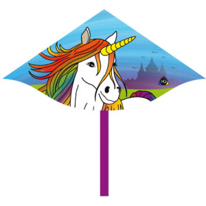 Einhorn Kinderdrachen - Magic Kite Unicorn - Mini Delta Einleiner Fabelwesen