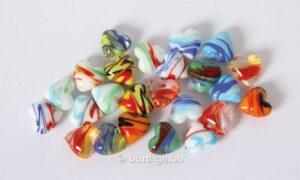 bunte Glas Herzen Schlieren - Dekoherzen - Glasherzen - Streudeko Glasherz