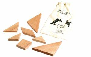 Puzzle Tangram - Holz Knobelpuzzle im umweltfreundlichen Packsack - Geduldspiel 7 Teile