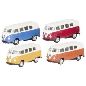 Modellauto Volkswagen Microbus (1962), Spritzguss, 1:60, L= 7,3 cm - Welly VW Bulli mit Rückzugsmotor
