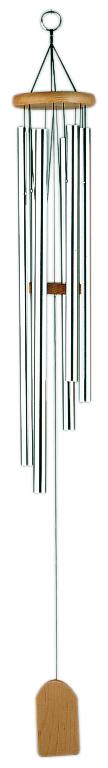 Asiatisches Windklangspiel mit 6 Klangröhren, silber/natur, Länge 85cm