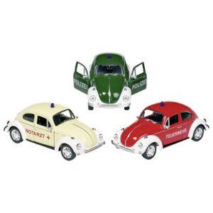 Modellauto VW Käfer, Volkswagen, Spritzguss, 1:34-39, L= 12 cm, Nostalgie Fahrzeug Polizei Feuerwehr oder Notarzt mit Rückzugmotor