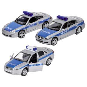 Welly Modellauto Polizei, Spritzguss, 1:34-39, L= 11 - 12 cm, mit Rückzugsmotor