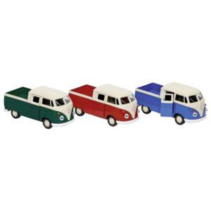 Modellauto Volkswagen T1 DoKa Pick-up, Pritsche VW Bulli ,Spritzguss, 1:38, L= 11,5 cm mit Rückzugsmotor