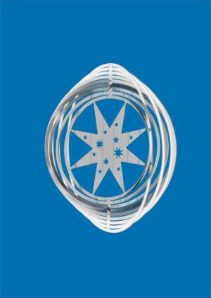 Edelstahl Stern Spirale - Mobile Edelstahlwindspiel Spirale Ringe mit Stern