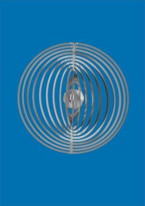 Spirale Ringe Edelstahl Mobile mit Kristallperle - 66mm