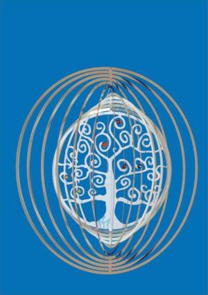 Spirale Lebensbaum Edelstahlspirale Ringe Mobile mit Symbol -Swarovski Steinchen in Chakrafarben