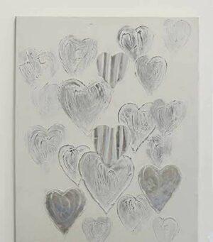 Herz Ölbild Heart - viele Herzen in silber - Ölgemälde 80 x 100 cm