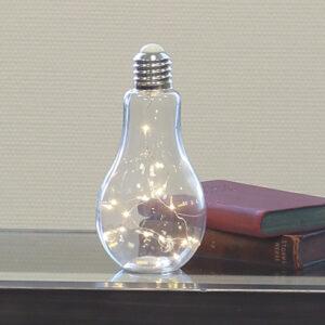Dekoleuchte Glühbirne, Glas, weiß, satiniert, Frostoptik - mit 10er LED-Lichterkette - zum Aufhängen und Stellen