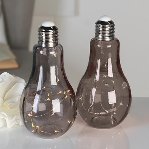 gl hbirne lampe rauchgrau 19 led 39 s batterie. Black Bedroom Furniture Sets. Home Design Ideas