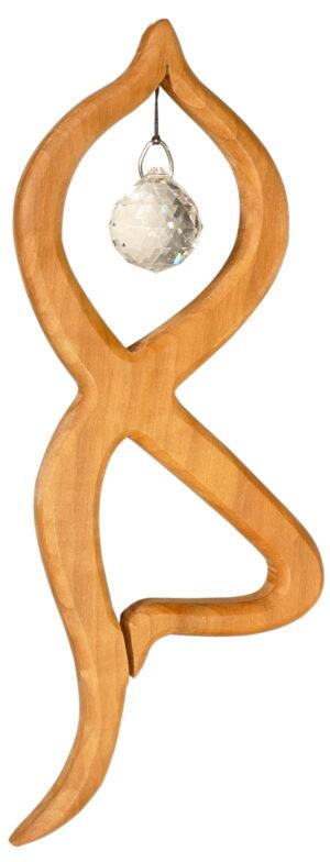 Holz Mobile Balance - Yoga Pose aus Edelholz 18,5cm mit Swarovski® Kristallkugel 20mm