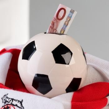 Spardose Fußball Ø 11cm - Sparbüchse mit Schloß und Schlüssel, Keramik