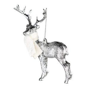Baumhänger Hirsch mit Schal - Hänger Deer - Baumschmuck Dekoanhänger Jäger Weihnacht