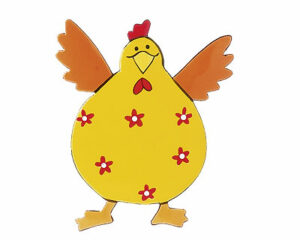 Mila Metall Magnet Hahn - Crazy Chicken, gelb